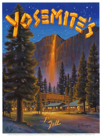 The Yosemite 'Firefall' began in 1872 and lasted nearly 100-years until 1968 when the National Park Service cancelled the spectacle, because it was not a natural event and because all of the spectators were trampling the meadows. Below is a short video of the spectacle.