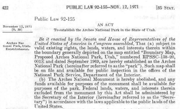 Read more about the establishing legislation of Arches National Park