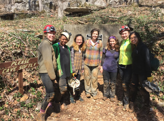 Dr. Oster with Dr. Angela Eeds (SSMV), Izzy Weisman (Vandy EES) and SSMV students Jaressa, Cecily, Ella, and Nancy after a cave trip in spring 2017.
