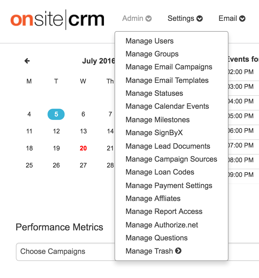 OnSiteCRM-AdminDropdown.png