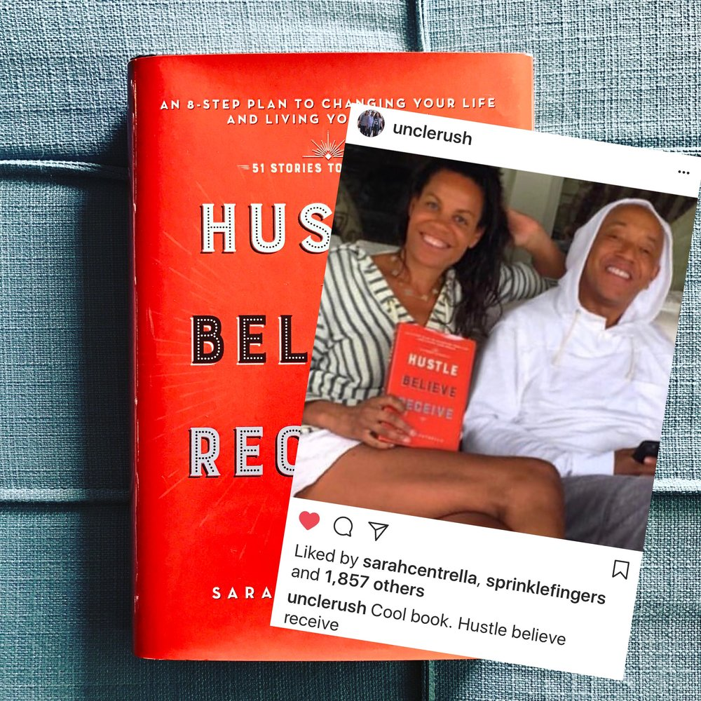 Russell Simmons and featured story Kimberley Hatchett reading Hustle Believe Receive