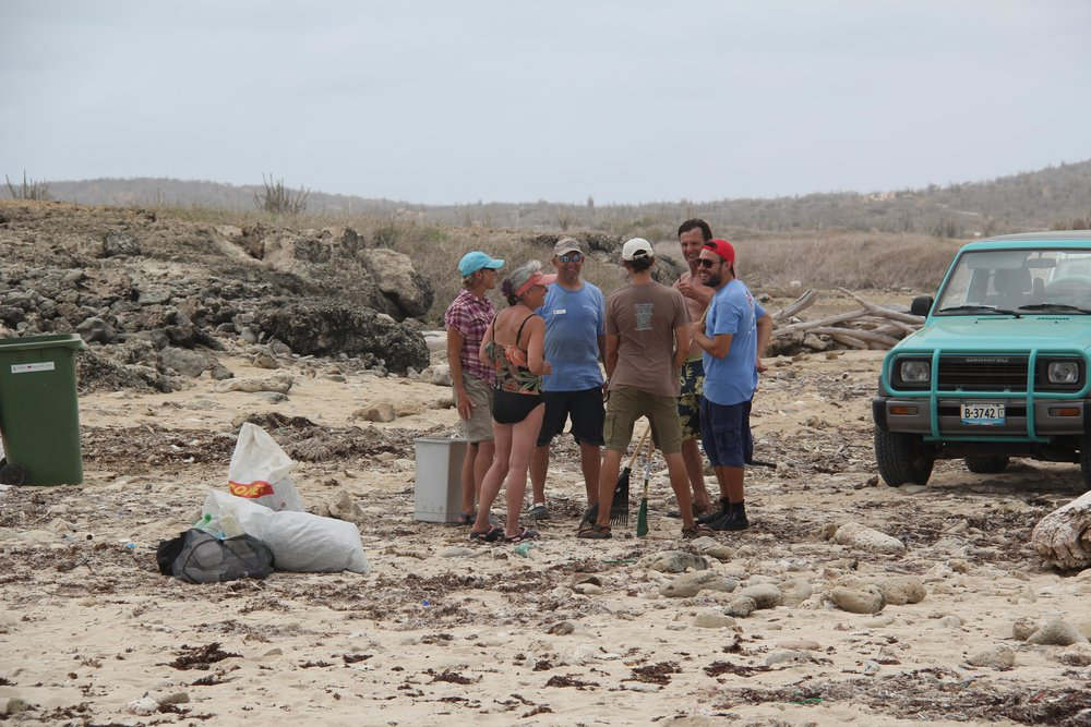 Marine debris removal from turtle nesting beach, Bonaire
