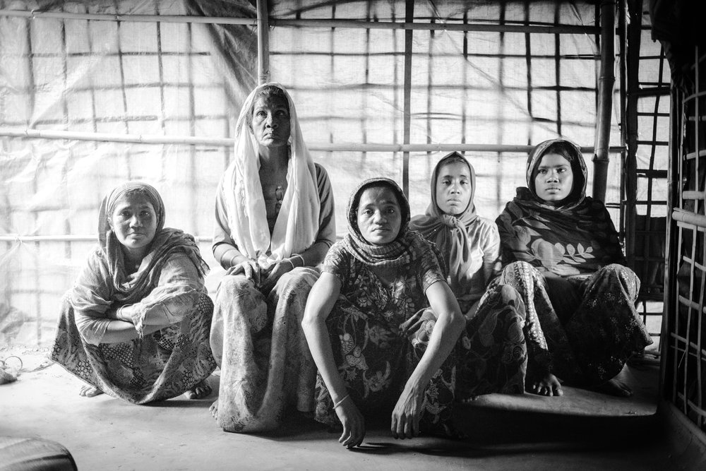 From Left to Right: Feroja (sister-in-law), Begum, Aisha, Fatima, Rashida. On my first two visits their fourth sister was out running errands.