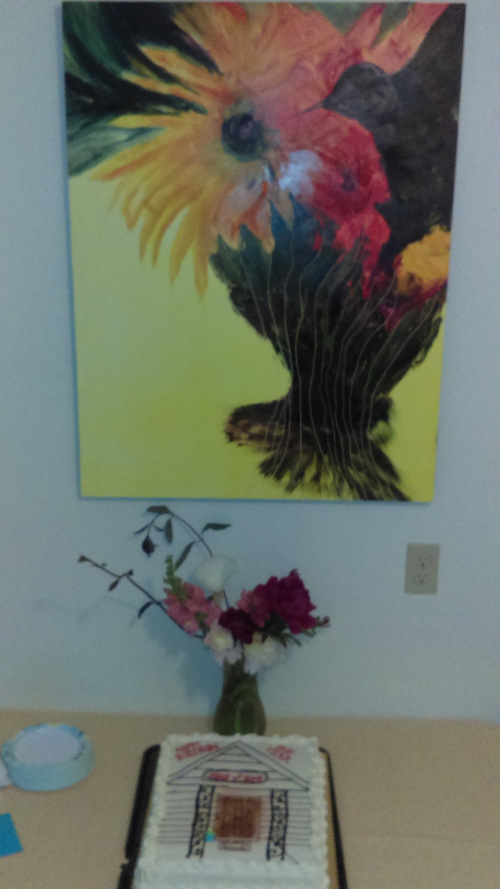 Our wonderful gift of the Hummingbird, by Barb Yeakel, daughter of Judy Yeakel, who founded the House of Hope 30 years ago, now hangs in our welcoming dining room.  Right where it belongs.