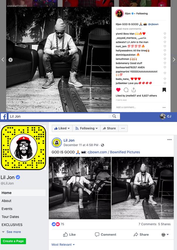 2018 - Lil Jon Facebook & Instagram