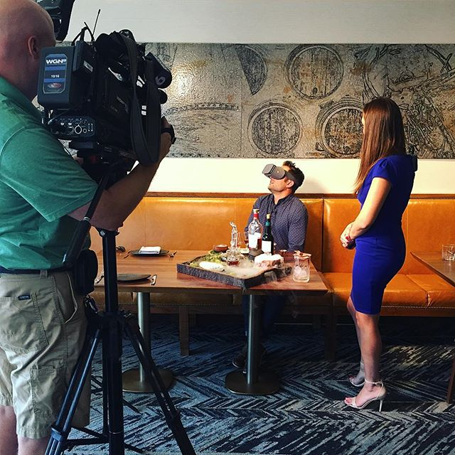 @macallanraquel taking @wgnnews & @marcusleshock on a VR cocktail journey with the #TheMacallanRareJourney cocktail. Available @baptistechicago now!