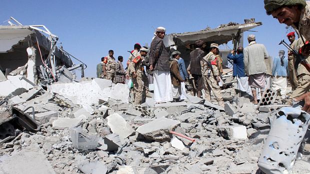 aftermath of saudi-led aerial bombing of saada airport, march 2015