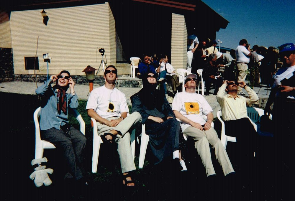 A picture from my trip to Iran in 1999 to view the last total solar eclipse of the millennium with a group organized by Search for Common Ground. I'm on the left with the eclipse-ready teddy bear.