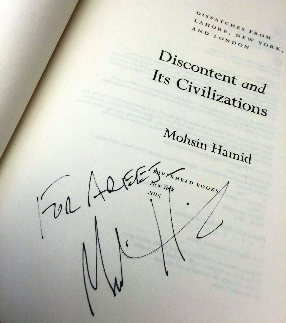 """For Areej"" -Mohsin Hamid :)"