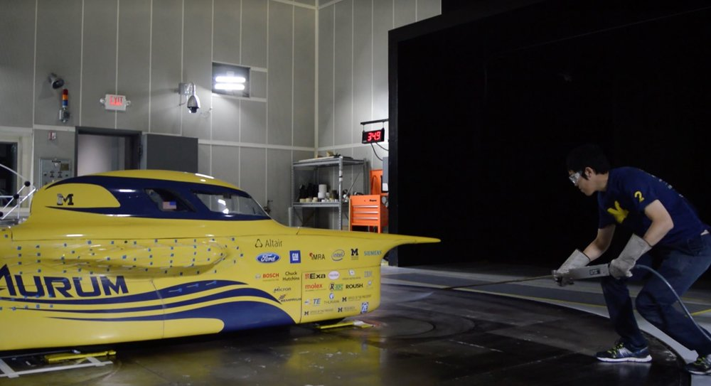 Aurum undergoes aerodynamic tests. Tell tails stick out from its side.