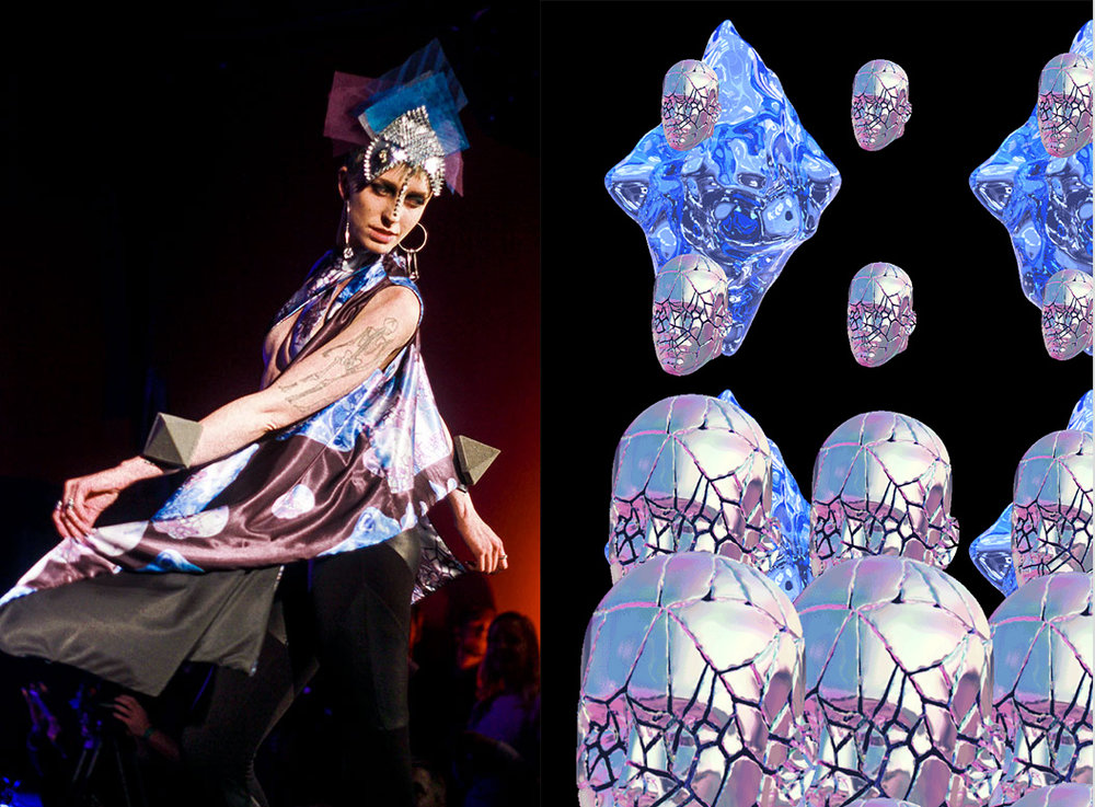"""Cout Gif"" Collection  (2015) - in collaboration with  Donald Hanson   Textile designer and seamstress for a line of  avant kimonos  with unique gif-based fabric designs created with  gifSlap  - a software written by  Donald Hanson . These images were made into textile designs and digitally printed, a re-sourcing of internet culture into couture. Shown at  Silicon Valley Fashion Week 2015"