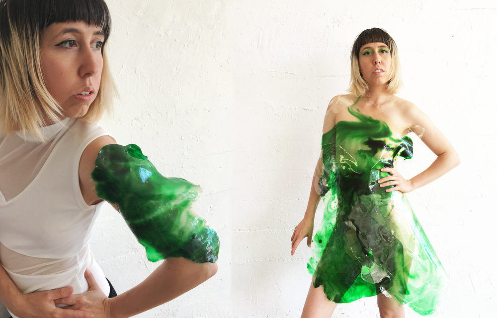 Cyanosymbionts  (2018, ongoing)   Cyanosymbionts  is a series of garments, prosthetics, and art objects for installation and short film that speculates on potential symbiosis of cyanobacteria with humans and other multi-species entanglements during this time on our changing planet. It focuses on the global environmental phenomenon of harmful algae blooms and the proliferation of cyanobacteria blooms due to human pollutants.