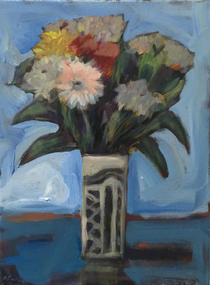 """Vase of Flowers"" acrylic on canvas 40cm x 30cm  $450.00"