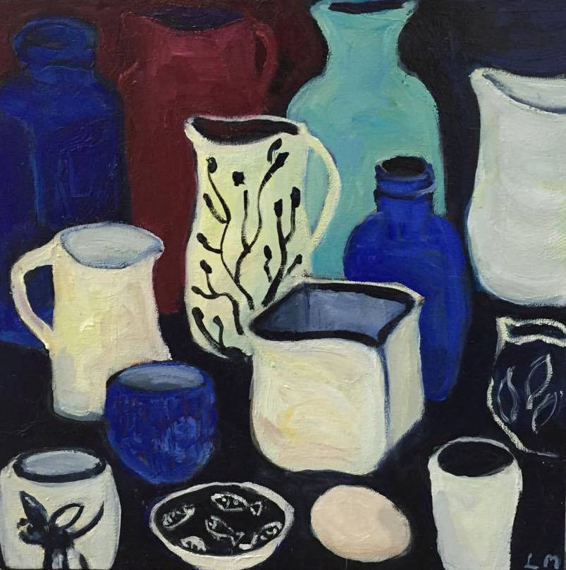 Blue Still Life  oil on canvas 40cm x 40cm  $400.00