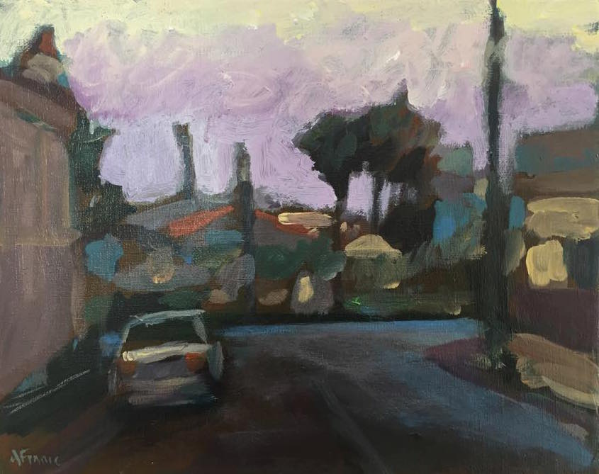 """Road to Olive Branch, Carrington"" acrylic on canvas 20cm x 25cm  $220.00"