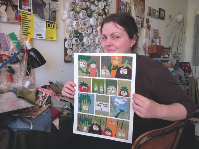 Olivia Parsonage in her studio at Newcastle Community Arts Centre