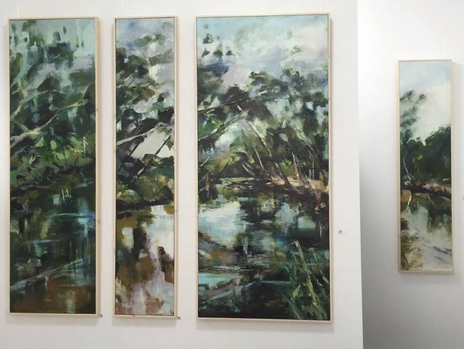 Shelagh Lummis Riverbank I, II, III, IV on back wall of gallery