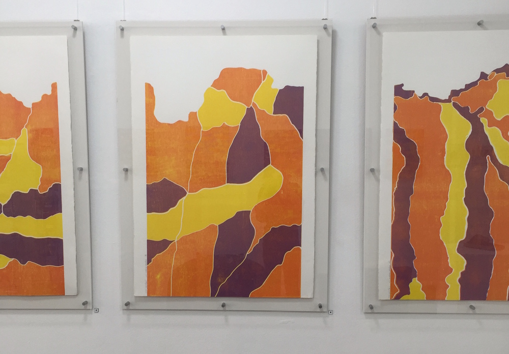 Sally Reynolds  Yalpalpe Rockface Norther Territory I, II, III   3 colour woodcut reduction