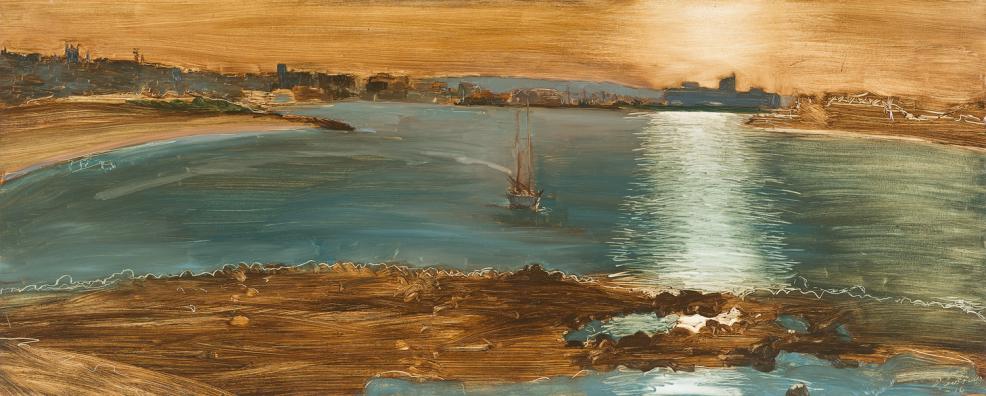 """Lightfall"" 2014 Oil on Hardboard 82 X 204 cm $2600.00"