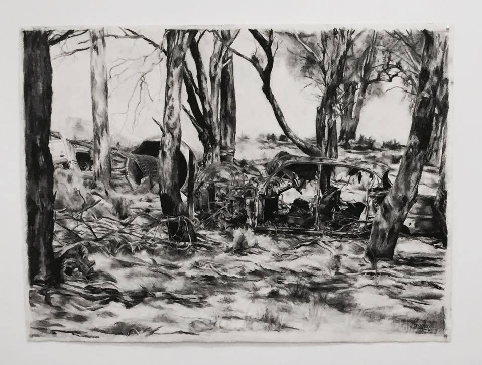 Christina Frogley The Old Dodge charcoal on paper in the group exhibition Fine Drawing