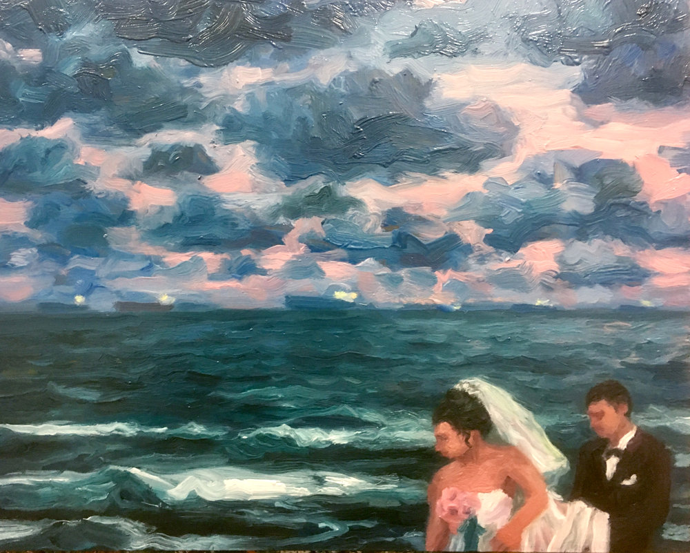 Windy wedding  2016 oil on board 41cm x 51cm AVAILABLE FROM THE GALLERY please contact info@gallery139.com.au or 0434 886 450 to arrange a viewing.