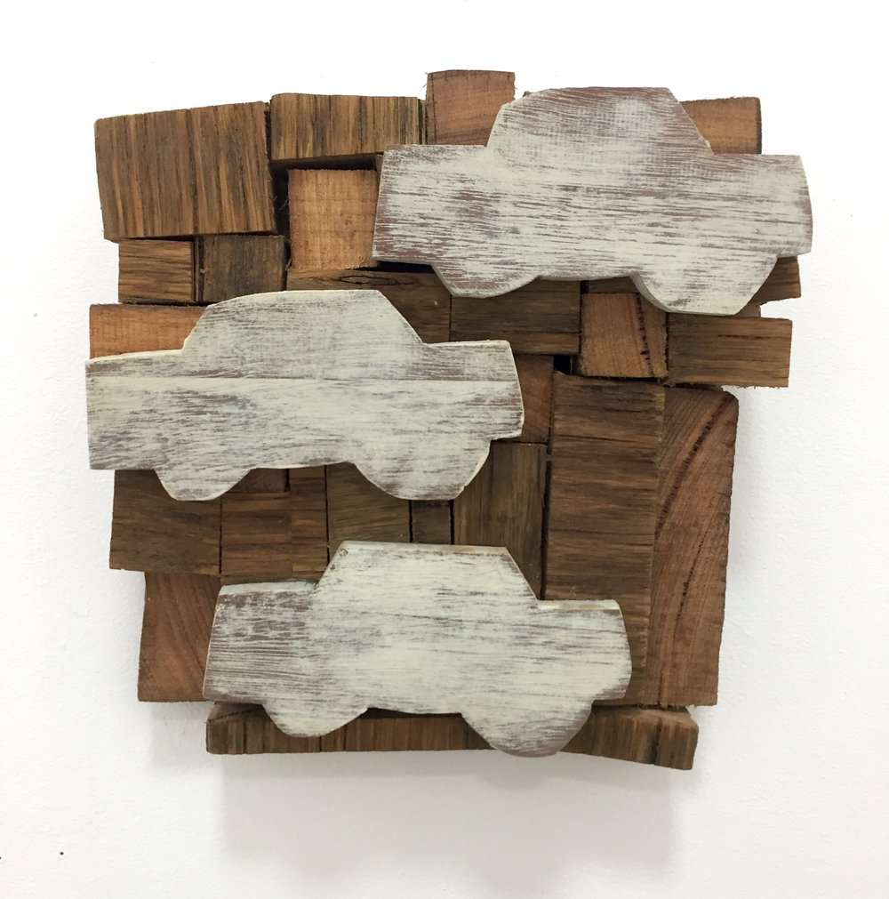 Edward Milan- cars:clouds #1 2017 recycled timber and paint .JPG