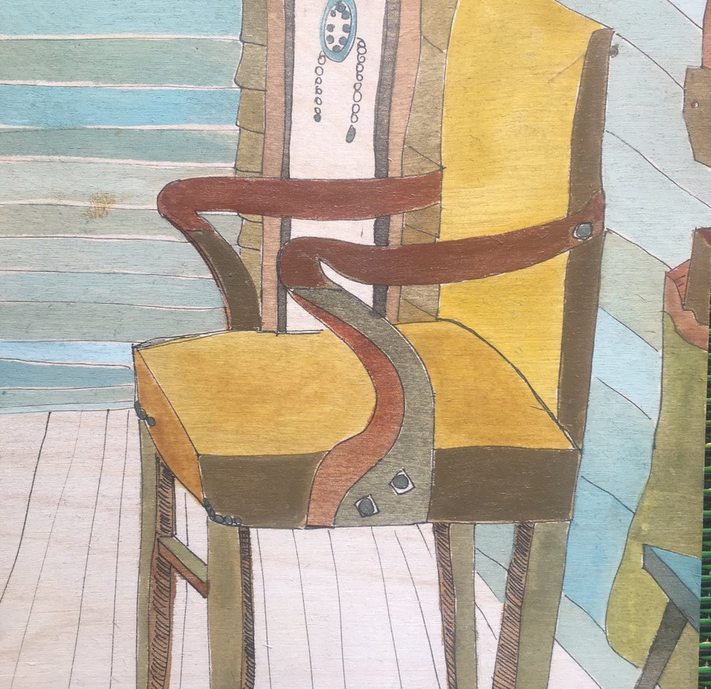 Lisa Pollard_Yellow Chair_2017_watercolour and ink on board_20x20cm.jpg