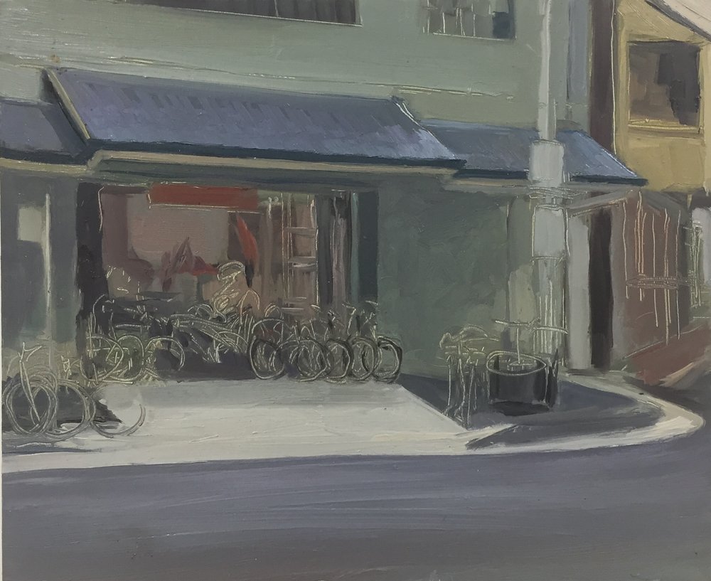 Dino Consalvo_en plein air - Bike shop_2017_oil on board_20x30cm_$350.00.JPG