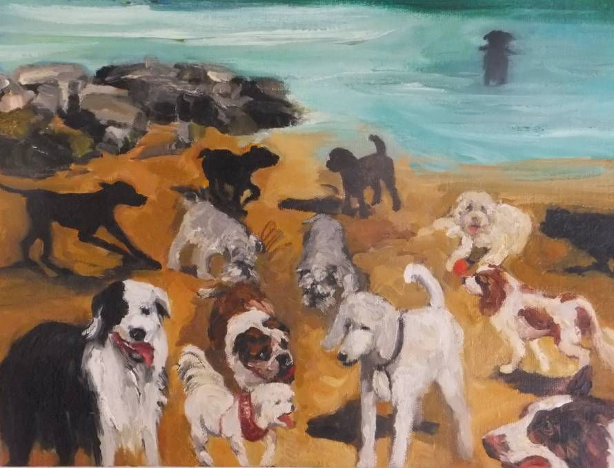 Lydia Miller Dog Beach 2016 oil on board 30 x 40cm