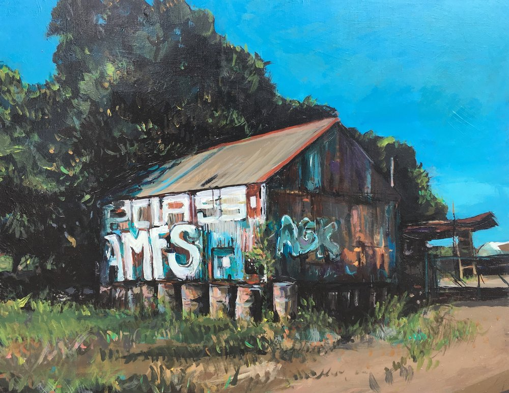 Jo Shand Wickham warehouse,due for demolition acrylic on board 28 x 35cm.jpg