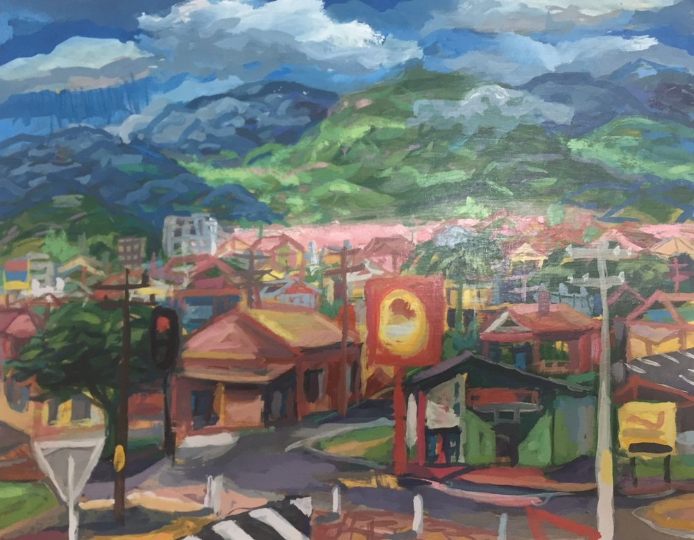 Redlynch Valley  2017  gouache on board 28 x 36cm $420.00