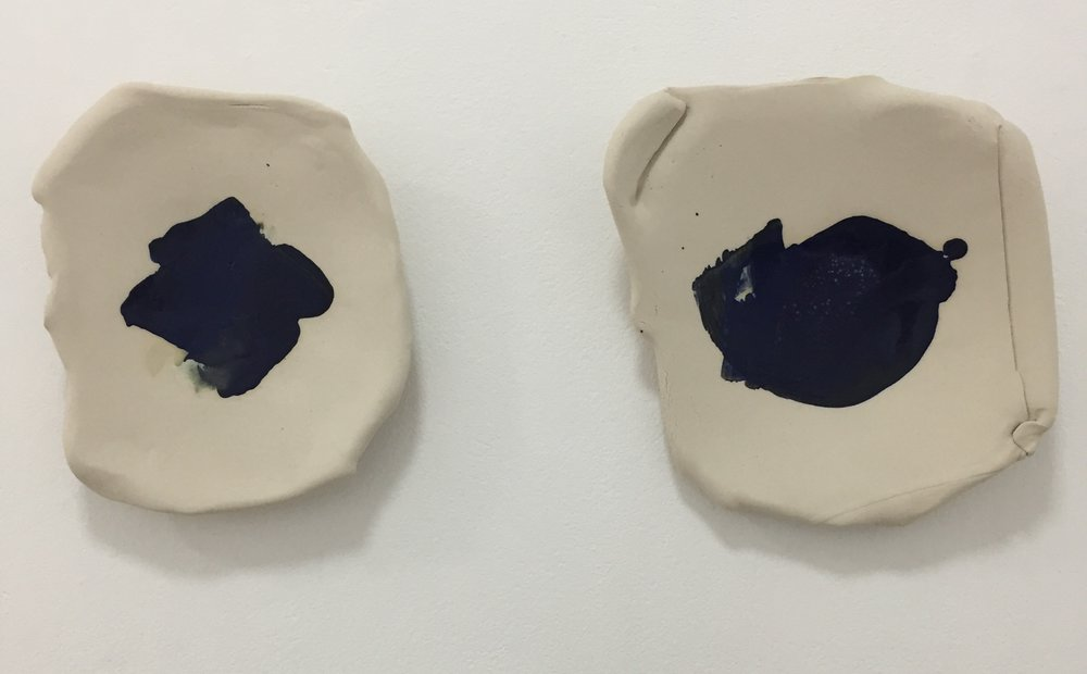 Two Sisters  2018 stoneware with glaze stains 30 x 32 x 6.5cm