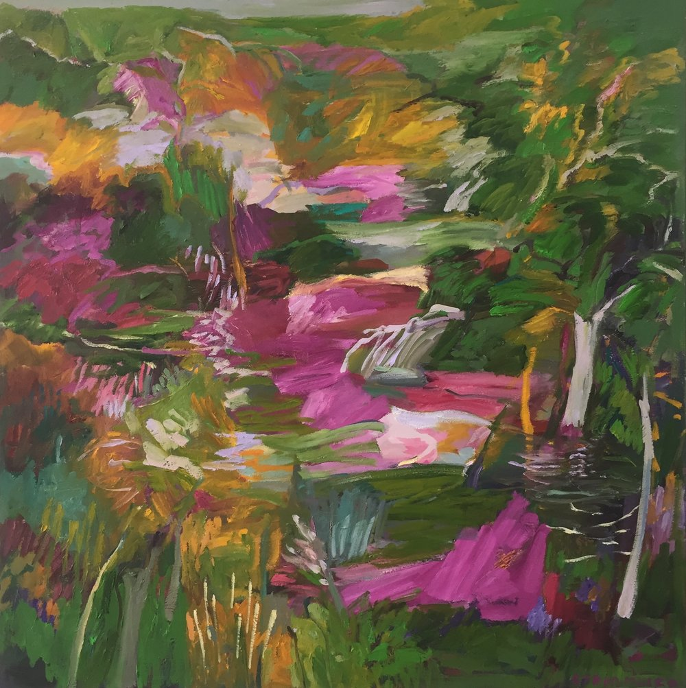 Lydia Miller  Magenta  2018 oil on canvas 76 x76cm $900.00