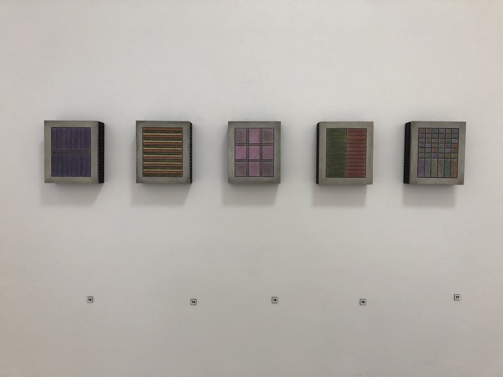 Ben Gallagher  left to right  Straight Gabble, Battens, Stained, Crop Rotation, Drystone (Church Work) 2018  coloured pencil, graphite, charcoal and lime on steel and hardwood 16.5 x 14 x 4.5cm $2200.00 each