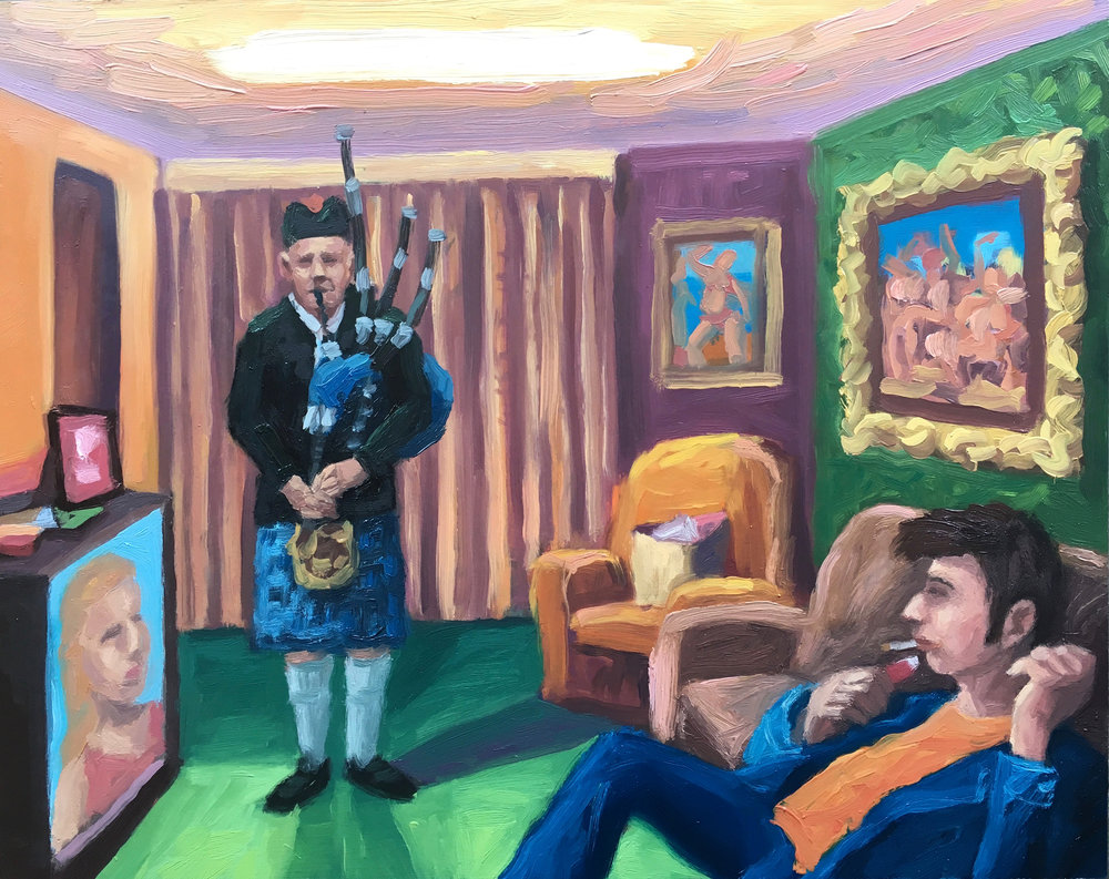 Peter Lankas    Family affair  2018 oil on board 40x50cm SOLD