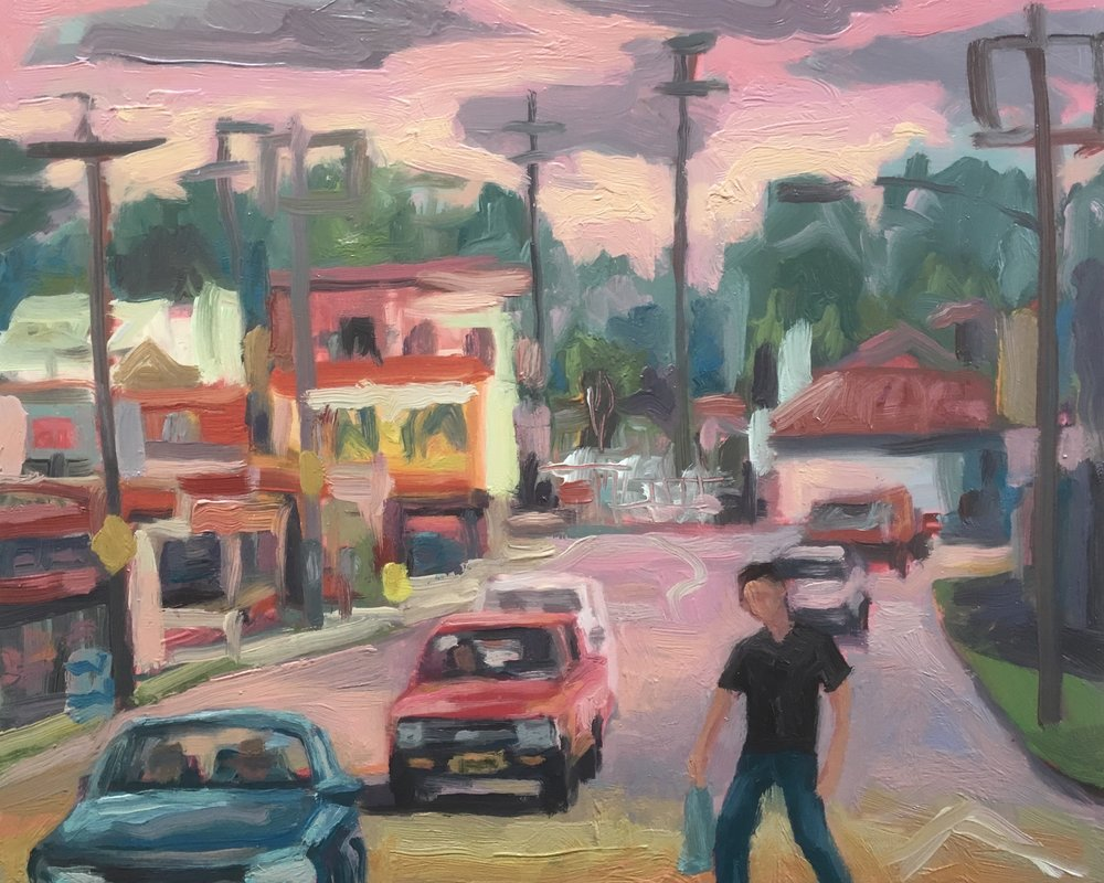Peter Lankas  Aro shopping  2018 oil on board 40x50cm $750.00