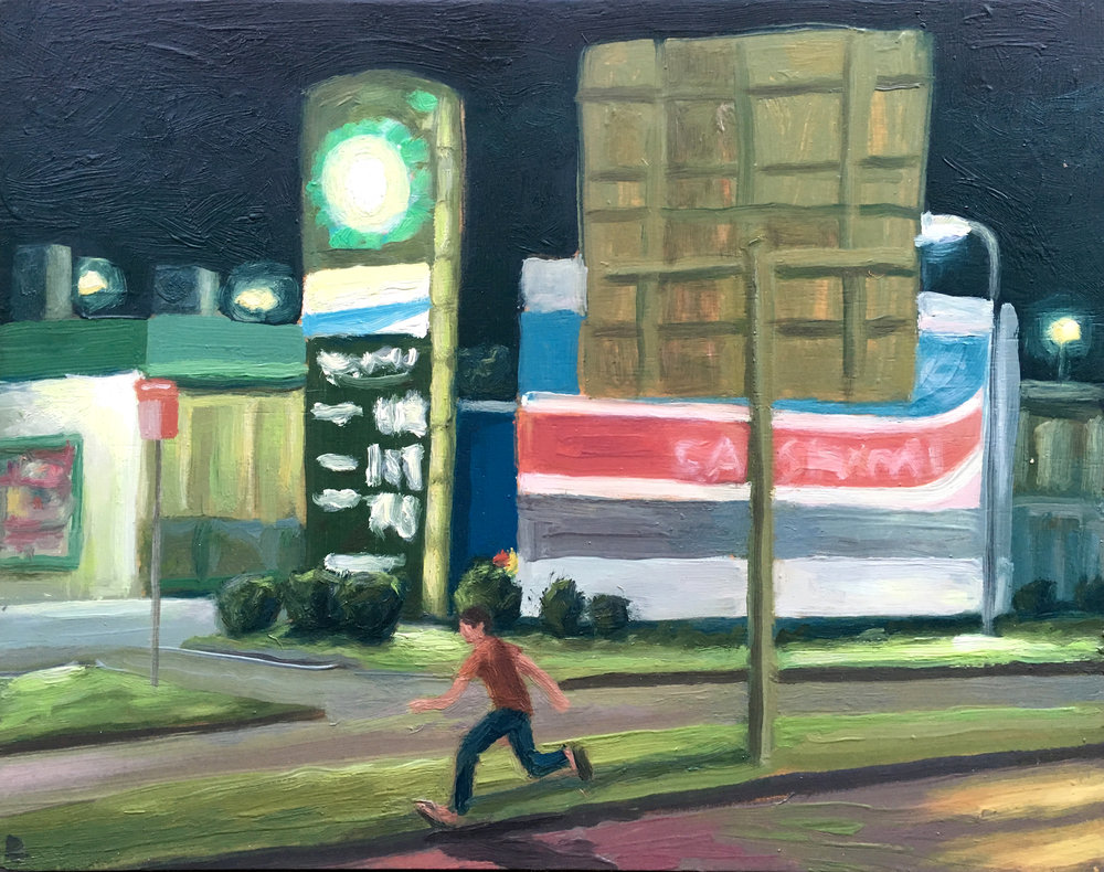 Peter Lankas  Midnight run  2018 oil on board 40x50cm $750.00