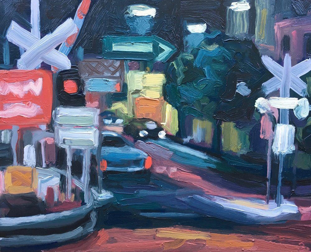 Peter Lankas  Night crossing  2018 oil on board 40x50cm $750.00
