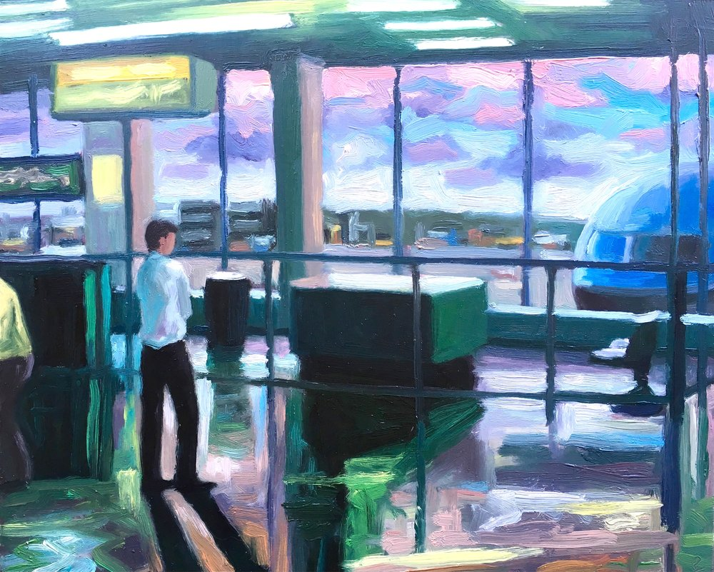 Peter Lankas  Transit  2018 oil on board 40 x 50cm SOLD