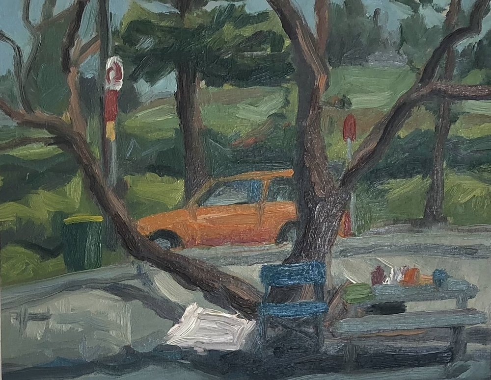 Peter Lankas  Yellow car  2018 oil on board 28 x 35.5cm $450.00