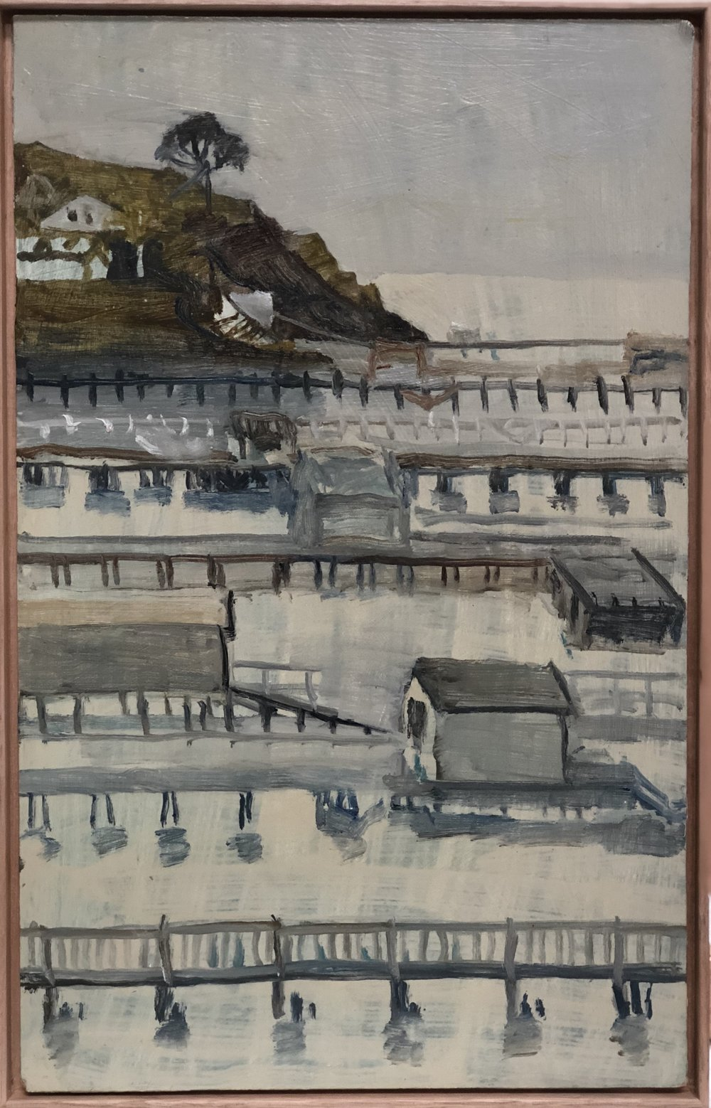 Paul Maher  Point King and boatsheds  2017 oil on board 41.5 x 27cm framed
