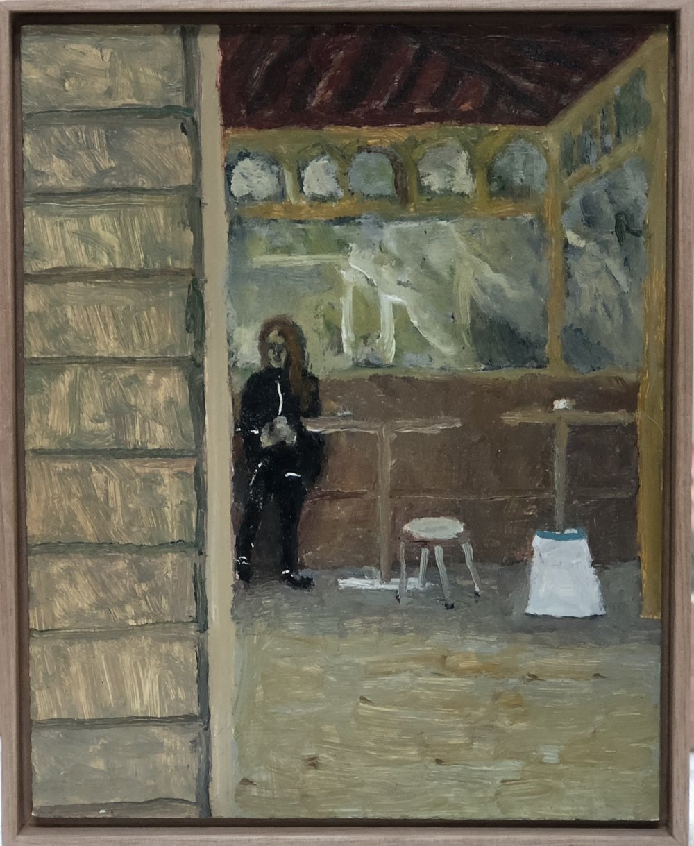 Paul Maher  Corner shopgirl on coffee break  2017 oil on board 21.5 x 17.5cm framed
