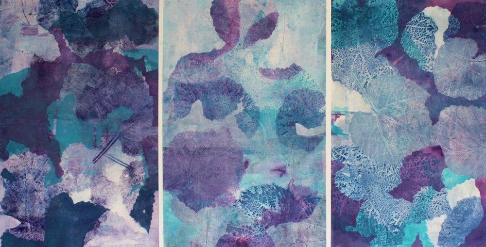 Helene Leane  Rhythms  2018 gouache monotype 50x95cm $1500.00 inc frame
