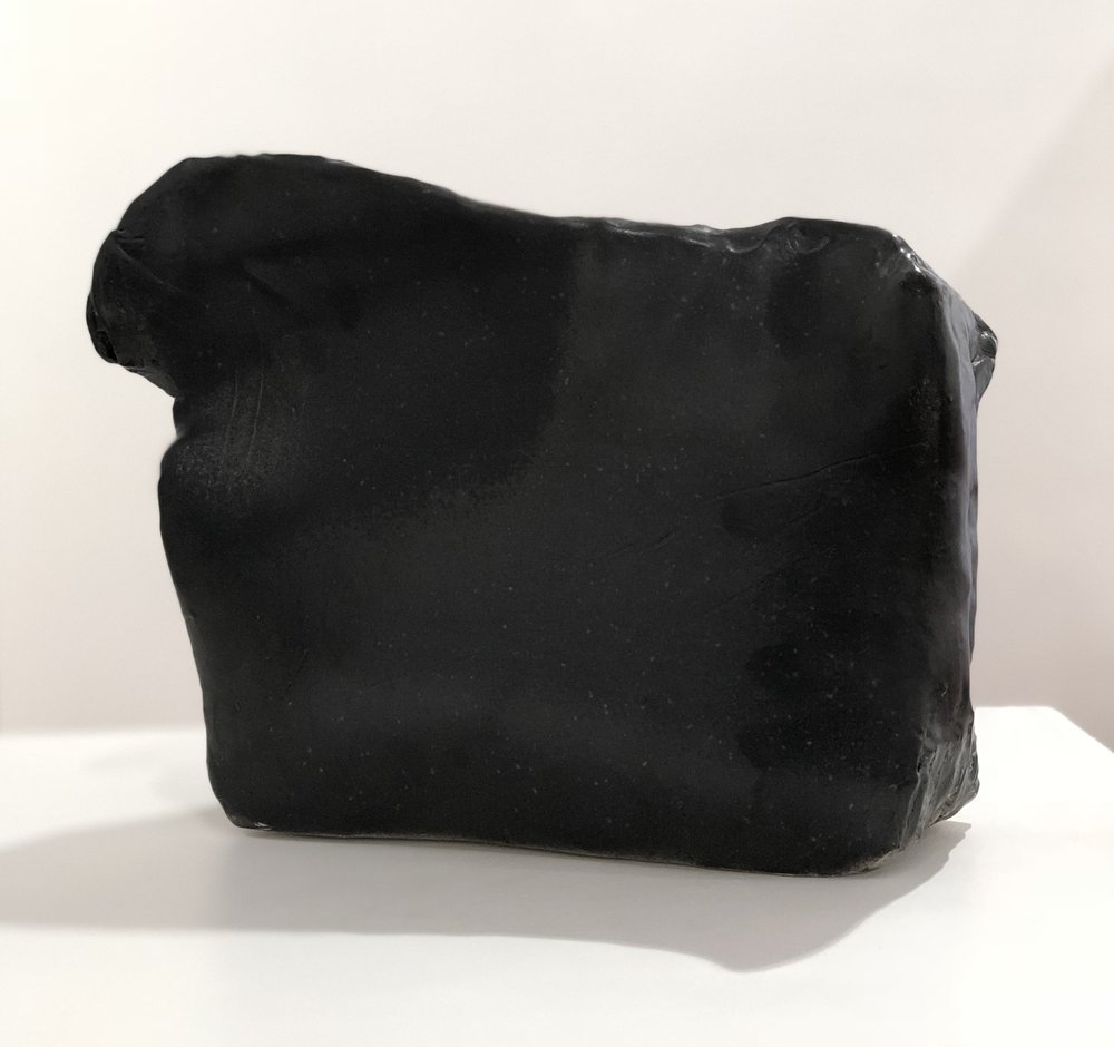 John Heaney  Blinky Palermo at the tea house  2018 stoneware black glazes 40 x 39 x 10cm $480.00