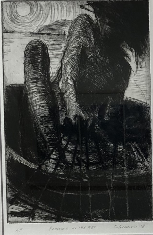Dino Consalvo   Bringing in the net  2018  drypoint etching artist proof  52.5 x 40cm framed $650.00