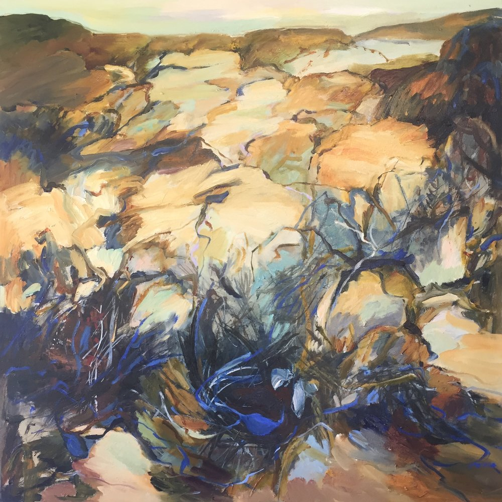 Lydia Miller   Bluebottles  2018  oil on canvas  76 x 76cm