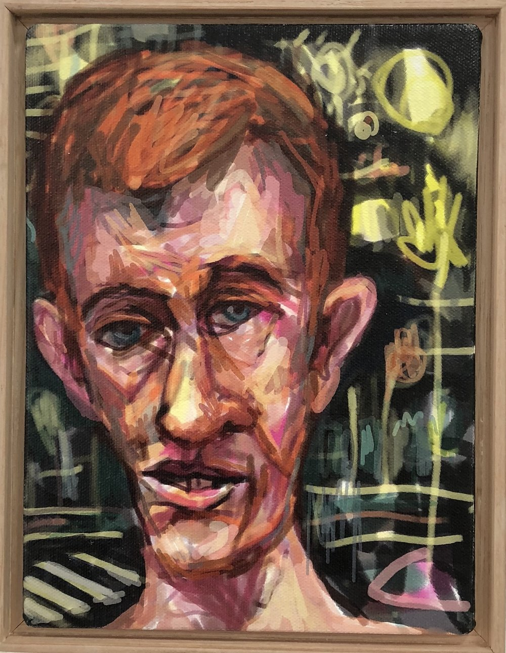 Peter Lankas  Scraped Ronnie  2018 ipad drawing, archival print on canvas 23.5 x 18cm framed Artist Proof + edition of 10 $285.00 each (AP + 10 available)  edition includes framing