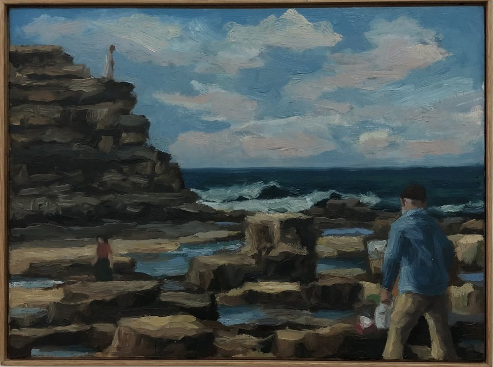 Peter Lankas   Coastal painter   pigment, oil, chalk, eggwhite on board  28.5 x 38.5cm inc frame  $550.00