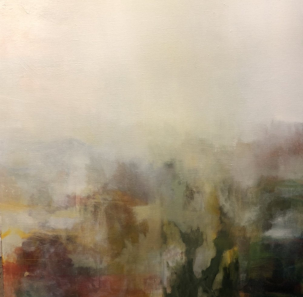 Dan Nelson   Smoke and morning  2018  oil on canvas  76 x76cm  $1300.00