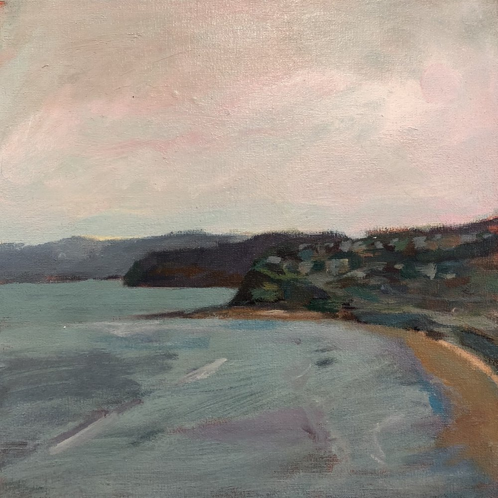 Andrew Finnie  The Headland in Mid-Spring  2017  acrylic on canvas  30 x 30cm $450.00